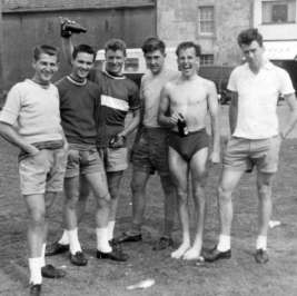 At Allonby. Booby Chapman, Clarence Postlethwaite, Danny Routledge, Peter Taylor, Derek Harrison and a youthful, slim Ivan Morris! (on the right)